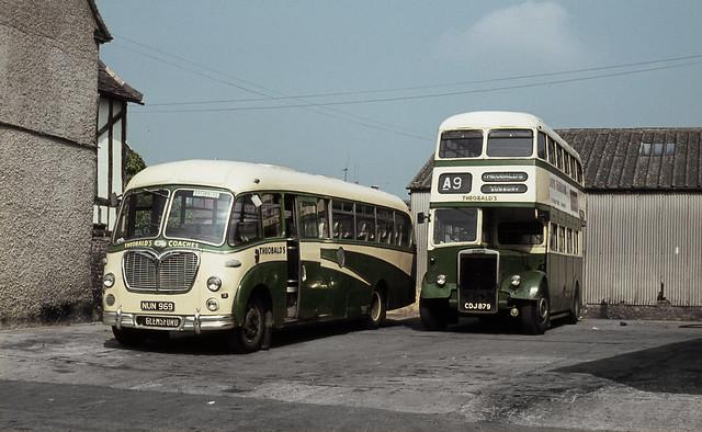 suffolk - theobalds of long melford nun969 & cdj879 depot 29-5-1968