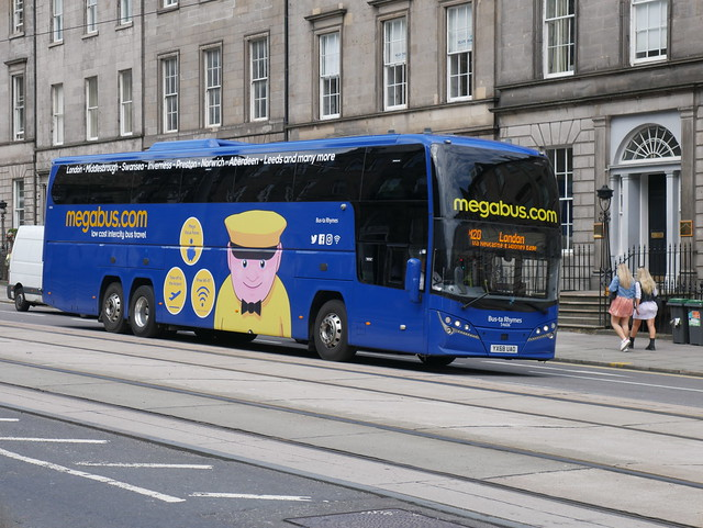 Stagecoach Midlands Volvo B11RT Plaxton Elite i YX68UAO 54606, in Megabus livery, and named