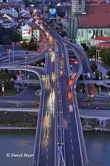 Bridge cars night Bratislava