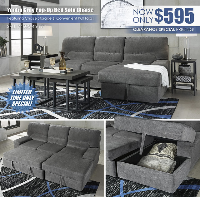 Yantis Gray Pop Up Bed Sofa Chaise_74605-45-17-T394