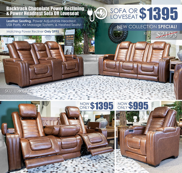 Backtrack Chocolate Power Reclining Sofa OR Loveseat_U28004-Collection_Layout