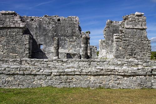 Inner part of The Castle (El Castillo) of the Tulum ruins, Tulum, Mexico