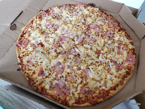 "14"" thin crust pizza with extra cheese, extra pineapple, and extra ham"