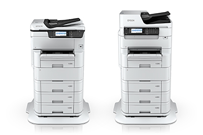 The new WorkForce Pro WF-C878R (left) and WF-C879R RIPS printers from Epson offer medium & large enterprises significantly lower energy usage and resource consumption. Photos show full set of printers.