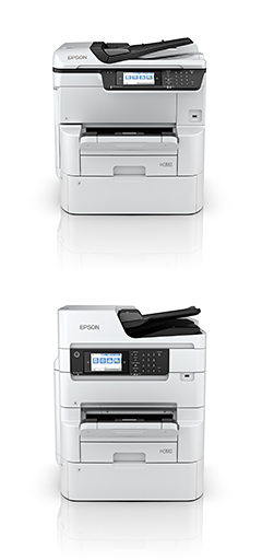 Epson WorkForce Pro WF-C878R (top) and WF-C879R RIPS printers.