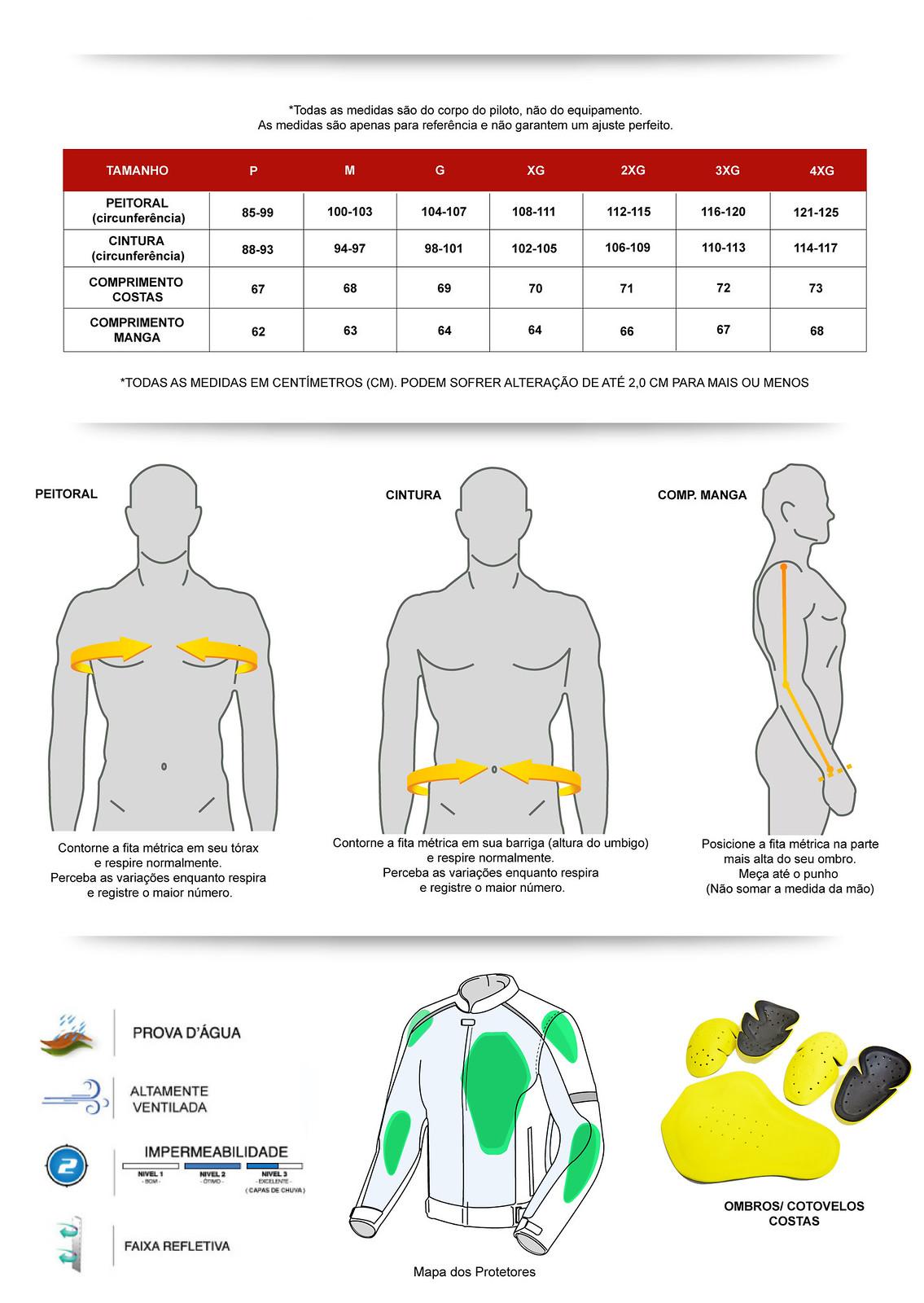 Tabela medidas jaqueta  FLY 2020