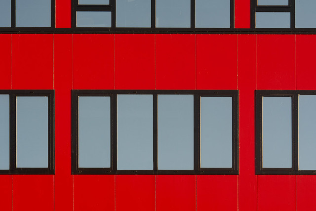 Red facade with 18 windows