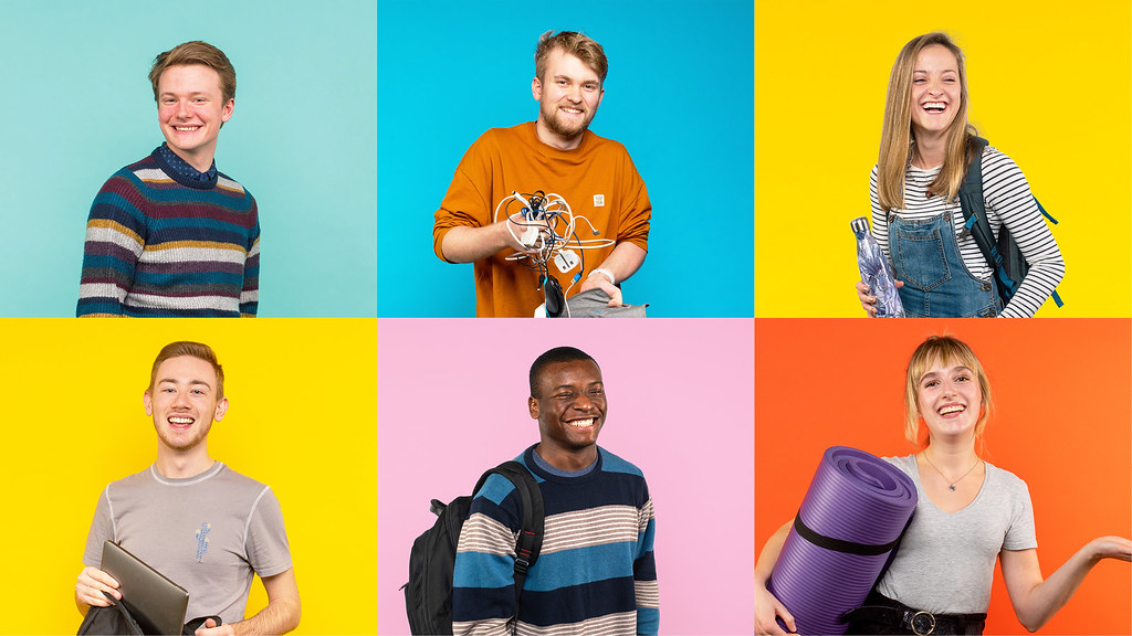 Various photos of students with bright coloured backgrounds in squares. There are 6 squares in total.