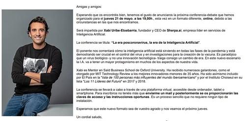 """Videoconferencia """"La era postcoronavirus, la era de la Inteligencia Artificial"""" por Xabi Uribe-Etxebarria, fundador y CEO de Sherpa.ai"""