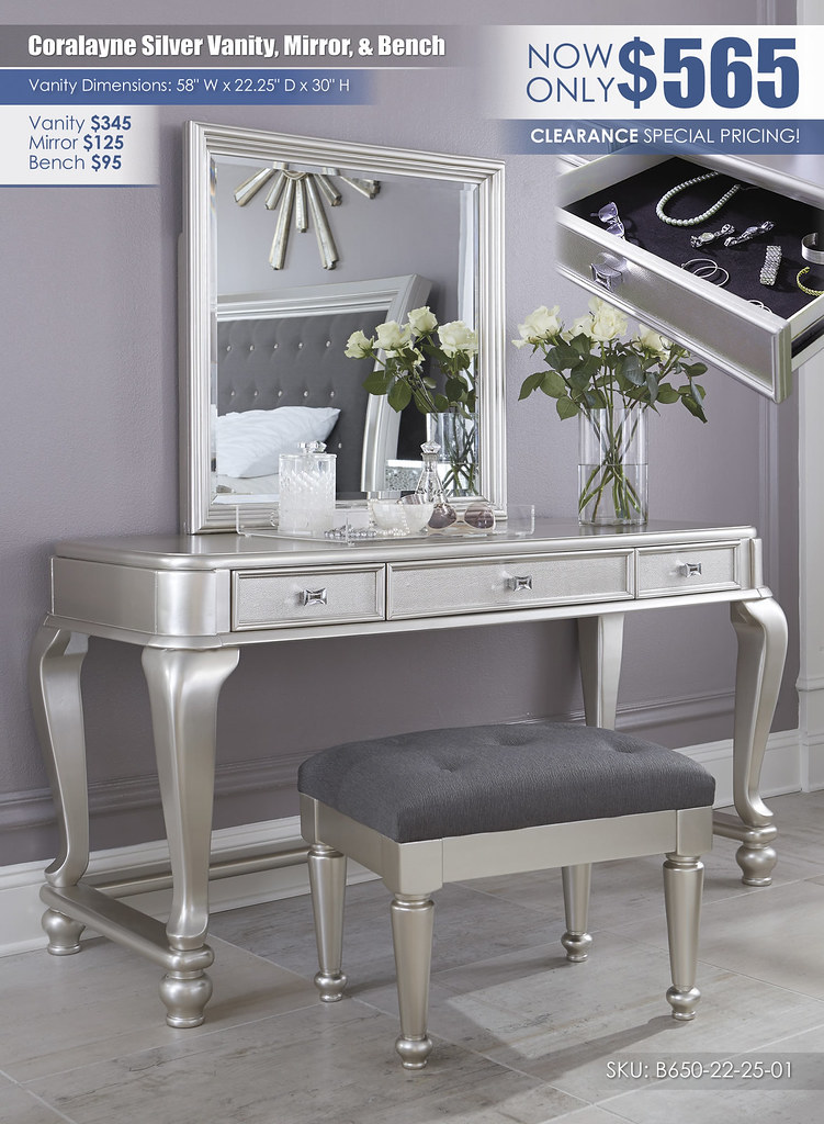 Coralayne Vanity Mirror and Bench_B650-22-25-01