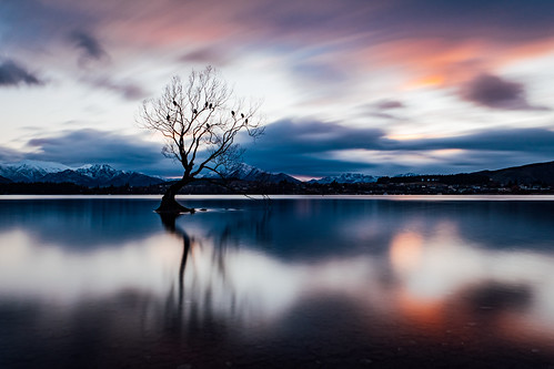 sun sunrise longexposure longexpo slowshutter wanaka trees tree travel travelling newzealand nz fuji fujifilm xt2 explore exposure mountain mountains winter clouds lake water scenery landscape