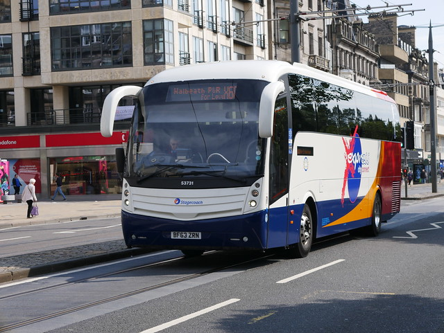 Stagecoach Volvo B9R Caetano Levante BF63ZRN 53731 operating service X60 to Leven at Princes Street, Edinburgh, on 30 July 2019.