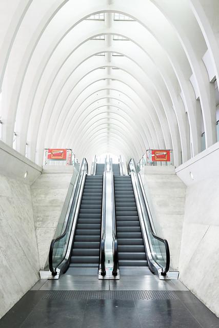 Escalators in the Liège-Guillemins railway station