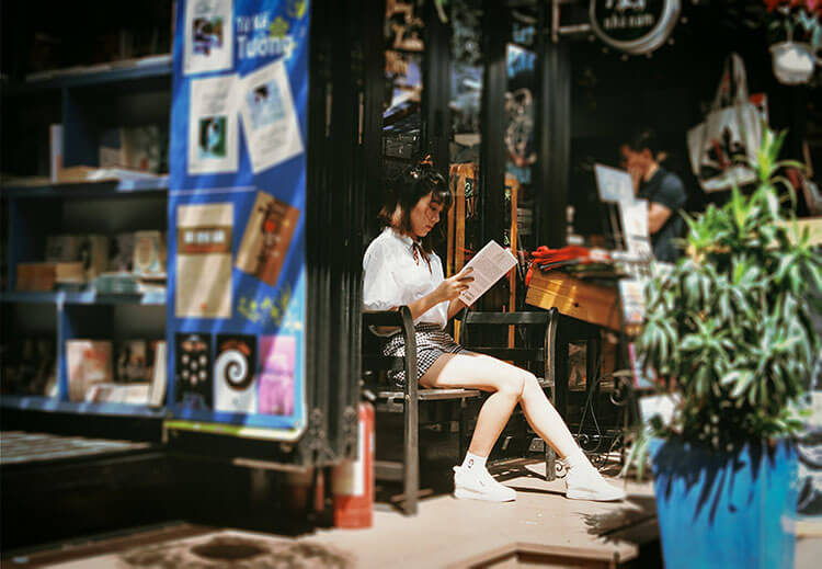 reading a book alone