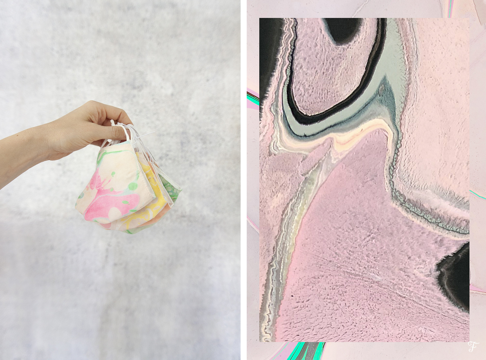 Marbling fensismensi blog coin purses face mask cover