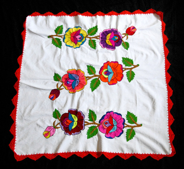Embroidered Tablecloth Oaxaca Mexico