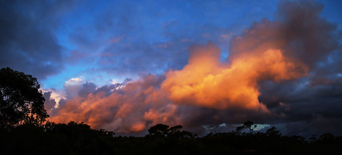 clouds panorama sunset sky