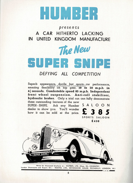 The new Humber Super Snipe - advert issued by Humber Ltd / Rootes Motors, 1938