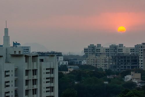 city clouds dawn landscape morning nature sky sun sunrise urban