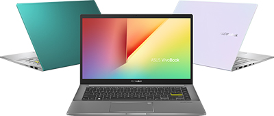 ASUS VivoBook S in Gaia Green, Indie Black and Dreamy White