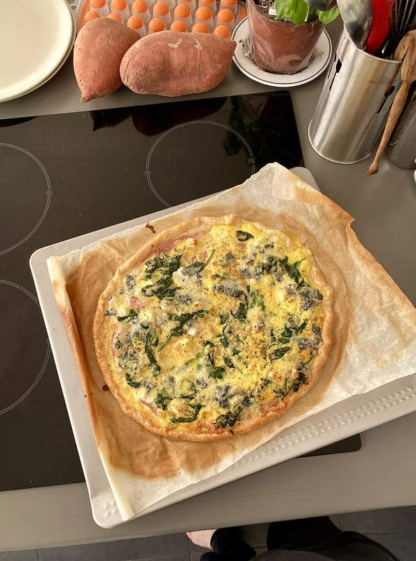 Ham, spinach and onion tart with goat cheese. Made it up as I was going along. (it turned out great!)
