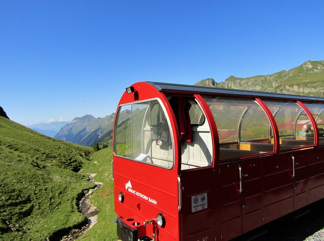 Brienz Rothorn Bahn steam train in Swiss Alps