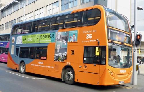 YN14 MUW 'Nottingham City Transport' No. 628 'Orange line 35'.  Scania 230UD / Alexander Dennis Ltd. Enviro400  on Dennis Basford's railsroadsrunways.blogspot.co.uk'