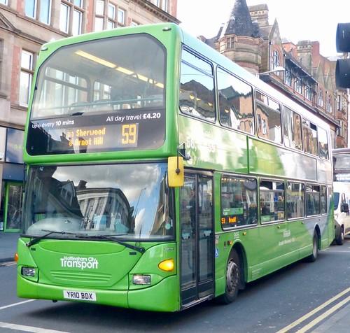 YR10 BDX 'Nottingham City Transport' No. 995 'Lime line 56,57,59'.  Scania N230UD / Optare Omnidekka  on Dennis Basford's railsroadsrunways.blogspot.co.uk'