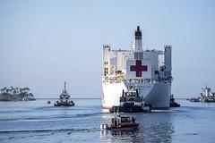 USNS Mercy (T-AH 19) departs the Port of Los Angeles, May 15. (U.S. Navy/MC2 Ryan M. Breeden)