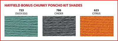 Choose one of these three colours for your Hayfield Bonus Chunky Poncho Kit.