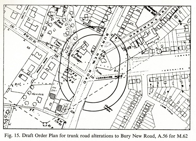 Motorways by James Drake, 1969 - draft order plan for M62 / A56 junction at Besses o' th' Barn
