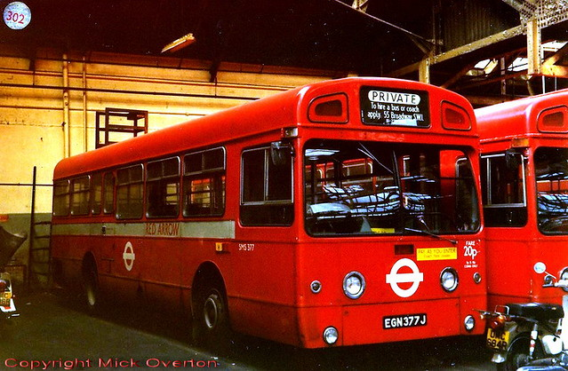 1971 AEC Swift SMS377 EGN377J takes weekend off at Hackney garage with SMS759