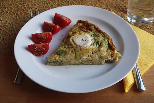 Frittata mit grünem Spargel und Ziegenkäse (mein 1. Sechstel)