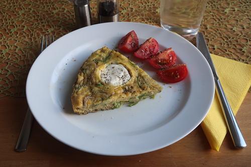Frittata mit grünem Spargel und Ziegenkäse (mein 2. Sechstel)