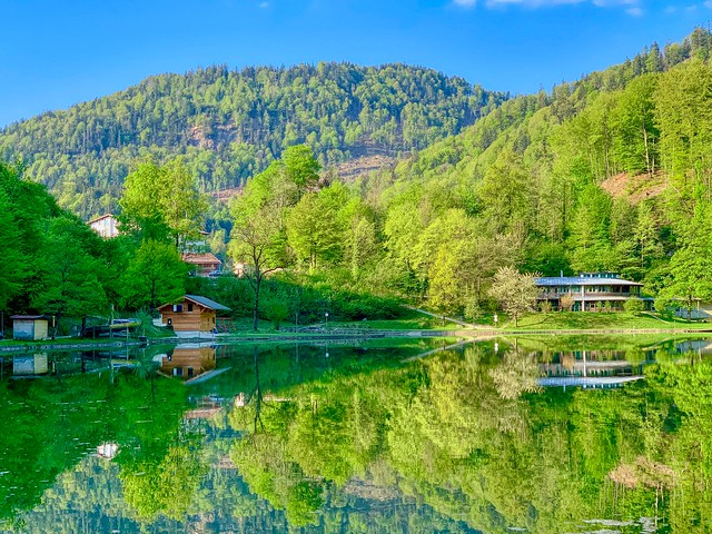 Reflections in lake Luegsteinsee near Oberaudorf in Bavaria, Germany