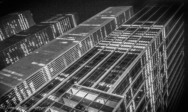Sixth Avenue towers at night - BW