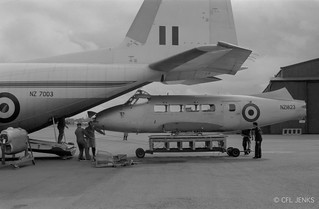 27 August 1966, RNZAF Devon NZ1823 being loaded into Hercules NZ7003 at Wigram after being gifted to the RMAF | by jenks.steve