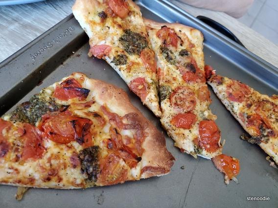 Pesto Mozzarella Pizzas on pan
