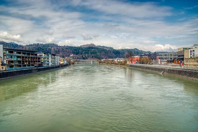 River Inn flowing through Kufstein in Tyrol, Austria