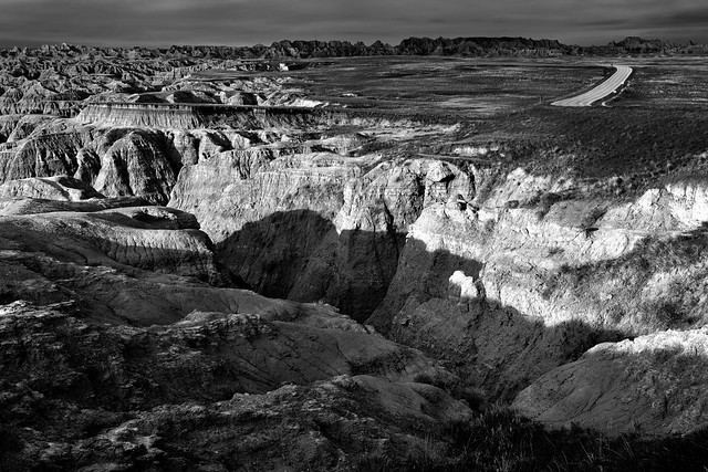 A Badlands Setting Badlands Not Long After Dawn (Black & White, Badlands National Park)