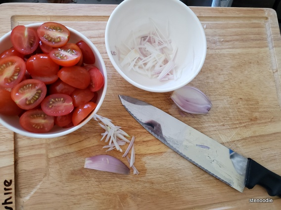 cutting tomatoes and shallots