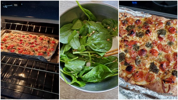 pizza in oven and salad prep