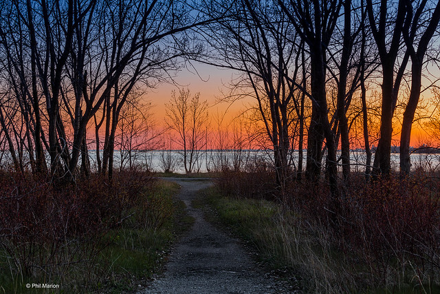 Lake Ontario sunset at path end - Leslie Street Spit