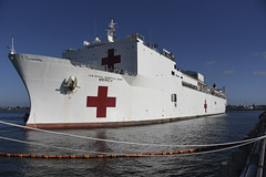 USNS Mercy (T-AH 19) approaches he pier in San Diego, May 15. (U.S. Navy/MC3 Tim Heaps)