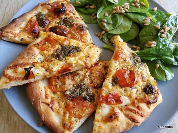 Pesto Mozzarella Pizza and salad