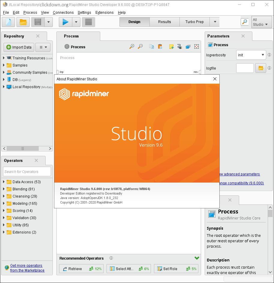 Working with RapidMiner Studio Developer 9.6.0 full license