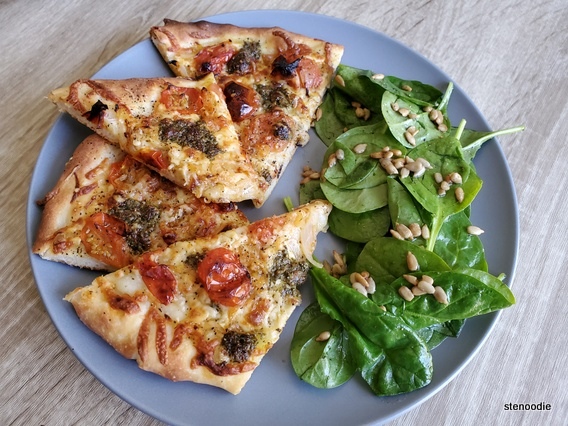 Pesto Mozzarella Pizza and salad