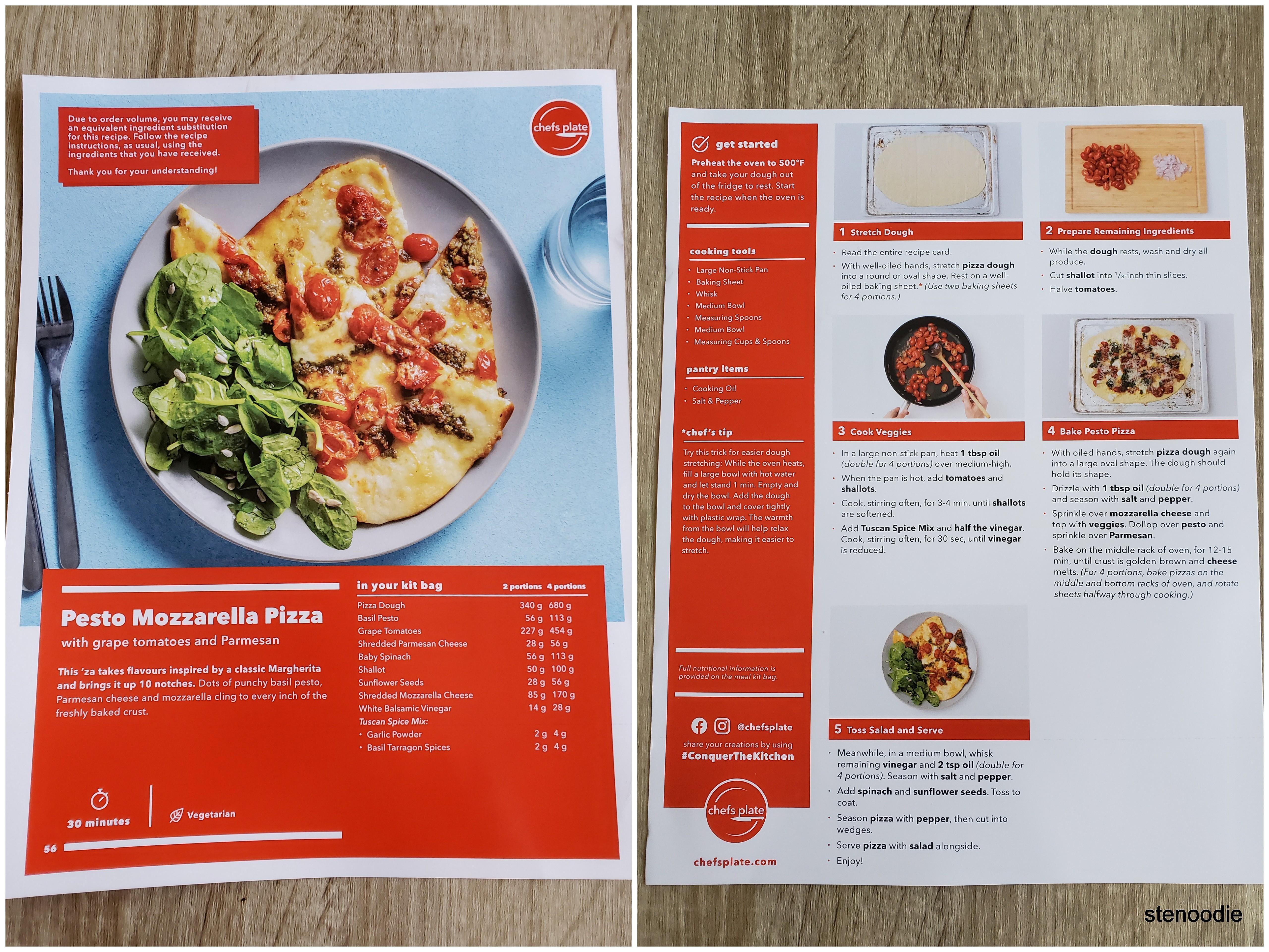 Pesto Mozzarella Pizza recipe card