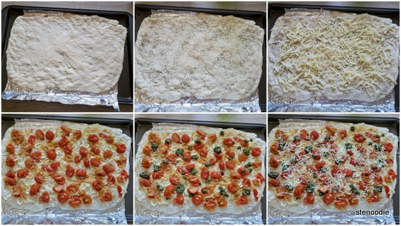 Step by step toppings onto the pizza