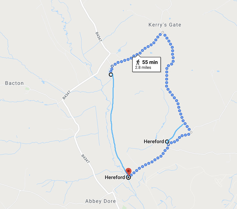 Map of my late afternoon walk: Canns Hill - Abbey Dore - Riverdale - Kerrys Gate